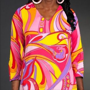 Pink Geometric Swirl Tunic Top